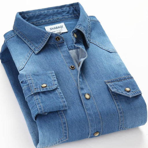 Cotton Denim Long Sleeve Slim Fit Elastic Men's Shirt with Two Pockets - SolaceConnect.com