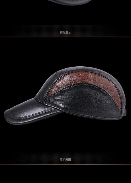 Men's Casual Fashion Outdoor Genuine Leather Adjustable Baseball Caps - SolaceConnect.com