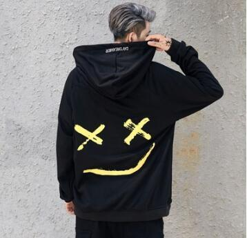 Usa Men Hoodies Sweatshirts Smile Print Headwear Hoodie Hip Hop Streetwear Clothing Us size S-XL - SolaceConnect.com