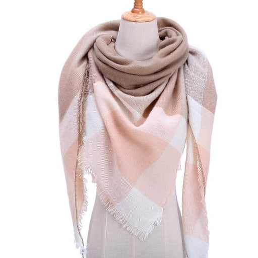 Designer Knitted Spring Winter Plaid Cashmere Scarf Shawl for Women - SolaceConnect.com