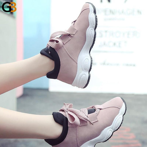Autumn Winter Comfortable Casual Pig Suede Platform Sneakers for Women - SolaceConnect.com