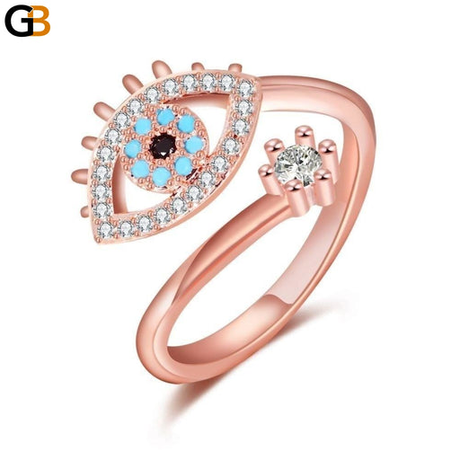 Women's Fashion Evil Eye Rose Gold Crystal CZ Open Finger Rings Jewelry - SolaceConnect.com