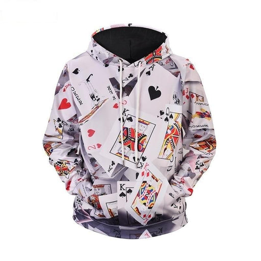 Unisex 3D Poker Card Print Plus Size Hoody Sweatshirt for Autumn and Winter - SolaceConnect.com