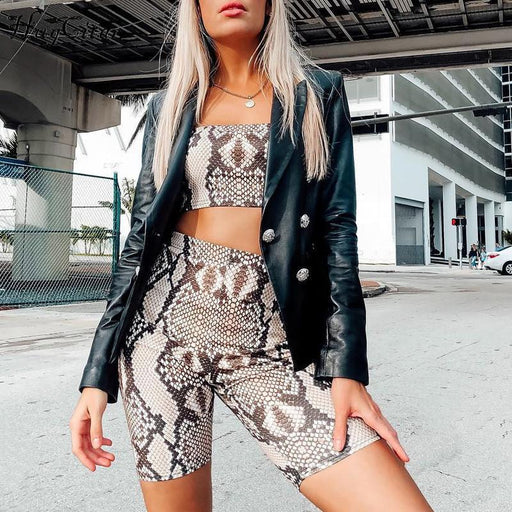 Hugcitar snake skin crop top sexy tank top shorts 2 pieces sets summer autumn women fashion - SolaceConnect.com