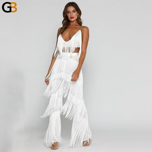 Women's Sexy Sleeveless Backless 2 Piece Set Sequin Tassel Top and Pants - SolaceConnect.com