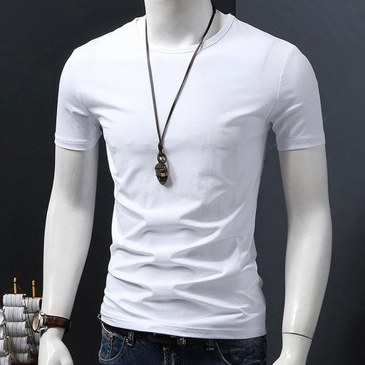 MYDBSH Men Brand Clothing Summer Solid t-shirt Male Casual tshirt Fashion Mens Short Sleeve t - SolaceConnect.com