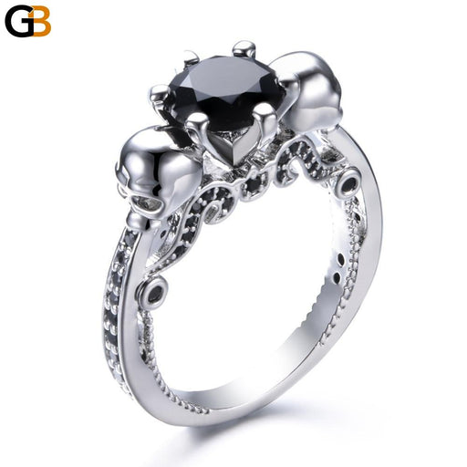 Classic Austrian Europe Gothic Skull Crystal Silver Plated Rings for Women - SolaceConnect.com