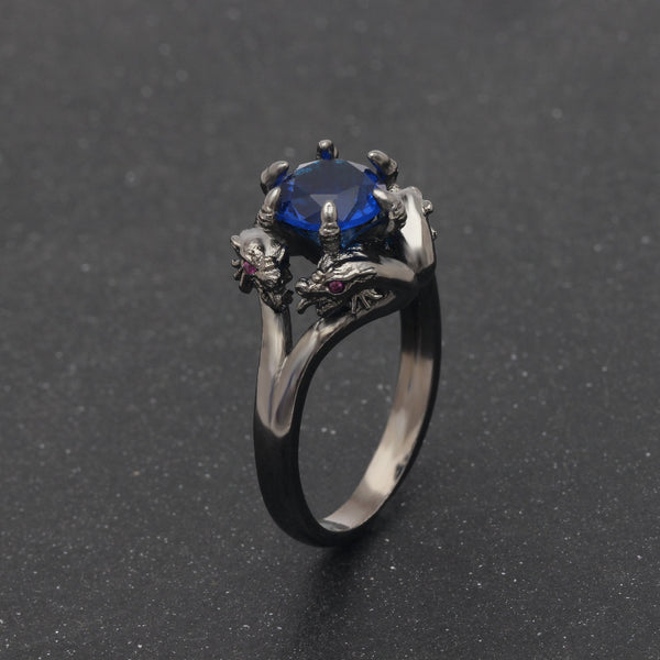 Unisex Vintage America Punk Style Black Gold Zircon Dragon Rings - SolaceConnect.com