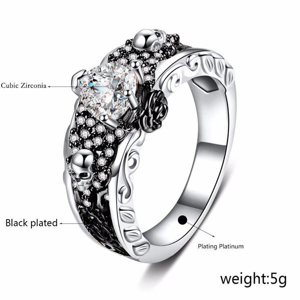 Unisex Rose Flower Two-tone Plated Heart AAA Zircon Skull Wedding Rings - SolaceConnect.com