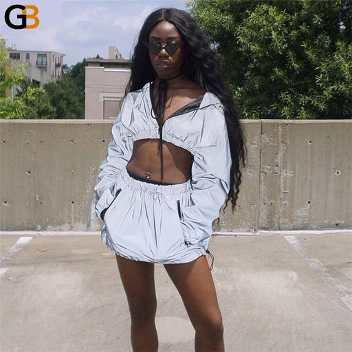 Women's Autumn Fashion Two-Piece Shorts Sets with Zipper and Hoodies - SolaceConnect.com