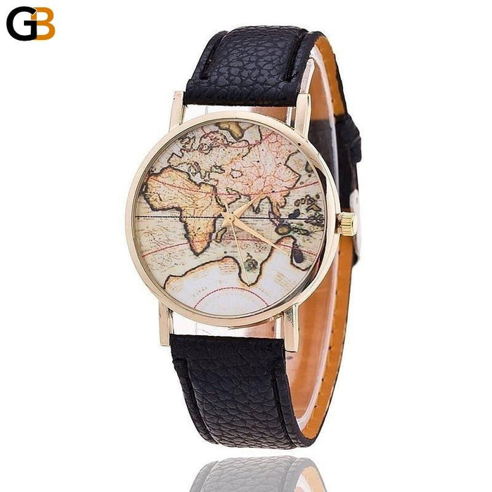 Fashion World Map Casual Leather Strap Quartz Watch for Women - SolaceConnect.com