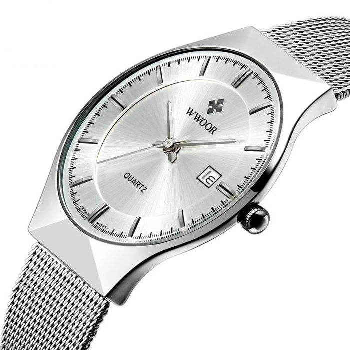 WWOOR Top Luxury Watch Men Brand Men's Watches Ultra Thin Stainless Steel Mesh Band Quartz - SolaceConnect.com