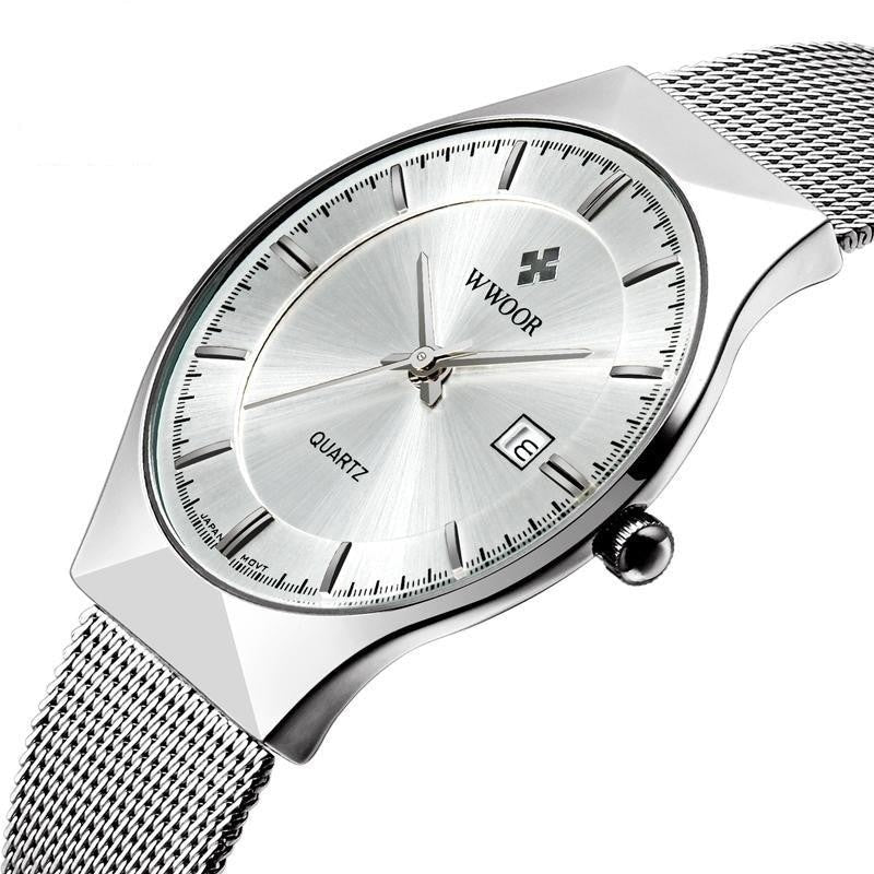 Top Luxury Men's Ultra Thin Stainless Steel Mesh Band Quartz Watches - SolaceConnect.com