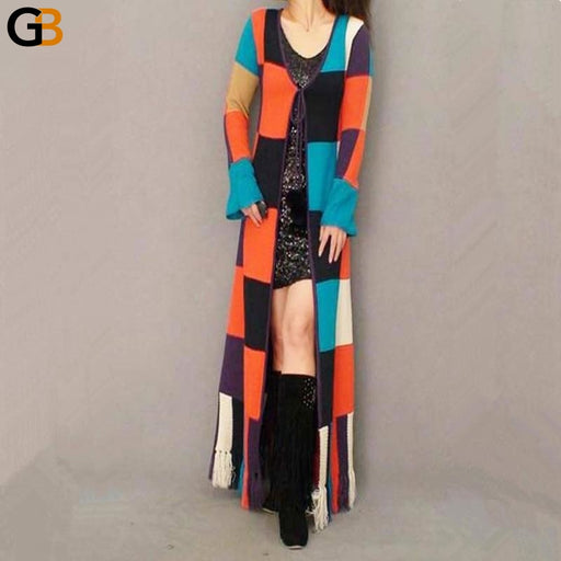 Fashion Floor Length Knitted Plaid Sweater Cardigan for Women - SolaceConnect.com