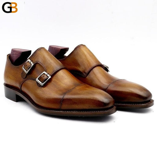 Monk shoes for man patina brown dress shoe genuine calf leather outsole men suits formal leather - SolaceConnect.com