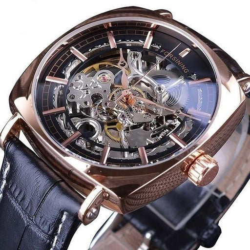 Forsining Black Genuine Leather Fashion Royal Luxury Gold Clock Transparent Skeleton Men Automatic - SolaceConnect.com