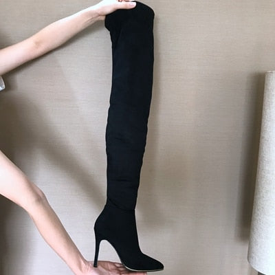 Women's Handmade Over the Knee Winter Leather Boots with Thin Heels - SolaceConnect.com