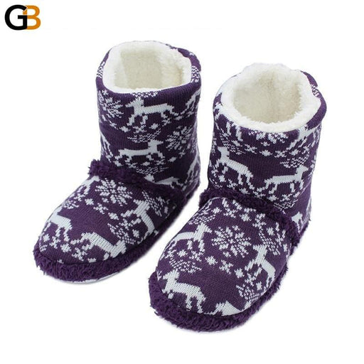 Christmas Gifts Animals Elk Warm Soft Woolen Indoor Slipper Non Slip Plush Home Slippers Indoor - SolaceConnect.com