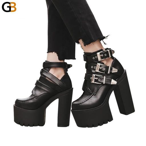 Fashion Black Soft Leather Ankle Boots for Women with Buckle - SolaceConnect.com