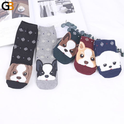 Funny Cartoon Pug Dog Patterned Cotton Short Ankle Socks for Women - SolaceConnect.com