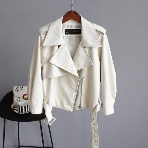 Synthetic Leather Soft Motorcycle Jacket for Women with Turn Down Collar - SolaceConnect.com