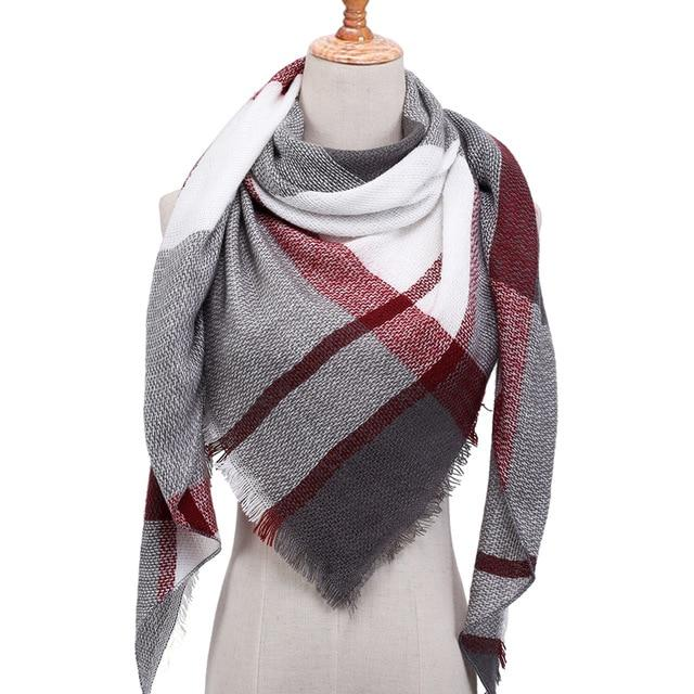 Women's Designer Triangle Scarves Soft Cashmere Plaid Shawl Wraps - SolaceConnect.com