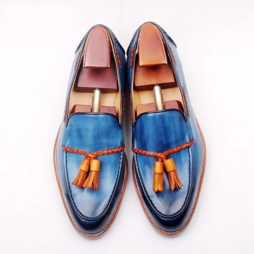 Full grain calf leather bespoke goodyear welted mixed blue brown custom handmade tassels slip-on - SolaceConnect.com