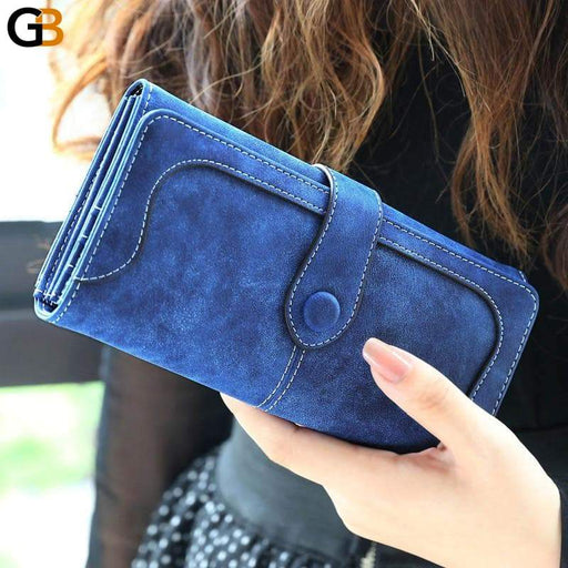 Women's Casual Faux Leather Coin Card Holder Zipper Long Wallets - SolaceConnect.com