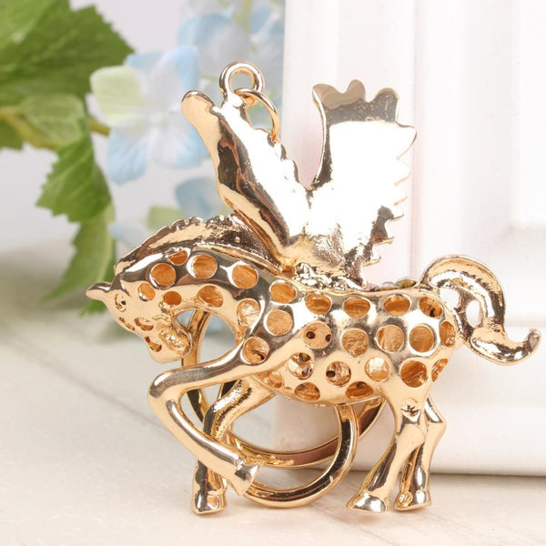 Flying Wing Horse Crystal Pendant Key Chain for Car and Handbag - SolaceConnect.com