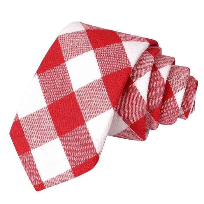 Men Tie Plaid Cotton Neckties For Men Casual Striped Slim Ties For Wedding Party 6cm Width Skinny - SolaceConnect.com