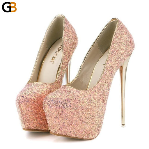 Spring Autumn Fashion Bling Women's Pumps with Sexy Slim Thin Heels - SolaceConnect.com