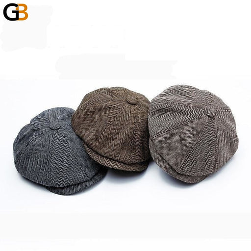 Wuaumx Unisex Autumn Winter sboy Caps Men And Women Warm Tweed Octagonal Hat For Male Detective - SolaceConnect.com