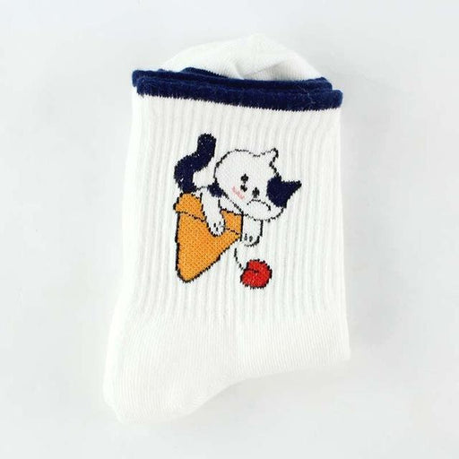 Funny Cotton Fruit Art Printed Japan Skarpetki White Socks for Women - SolaceConnect.com