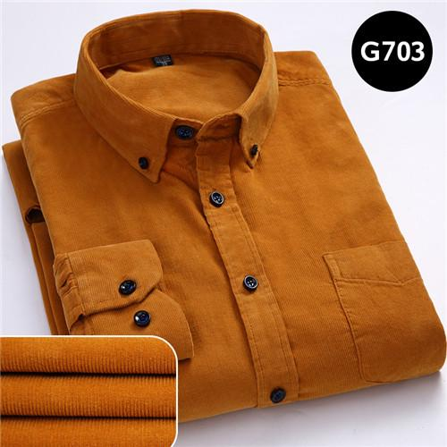 100% Cotton Corduroy Long Sleeve Button Collar Men's Shirt in 6XL Size - SolaceConnect.com