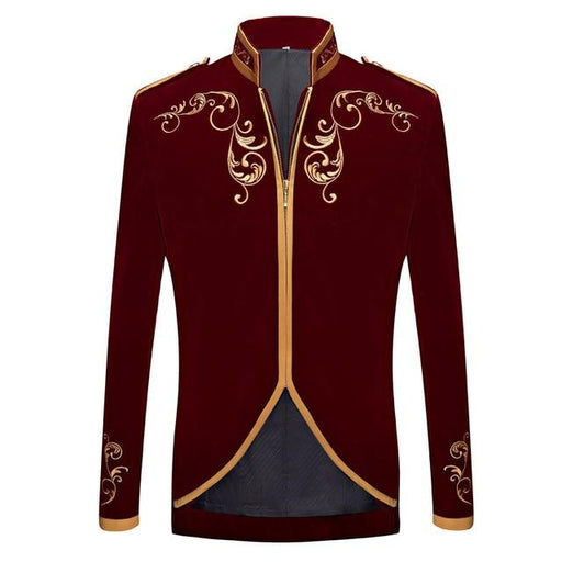 British Palace Prince Style Black Velvet Gold Embroidery Wedding Blazer - SolaceConnect.com