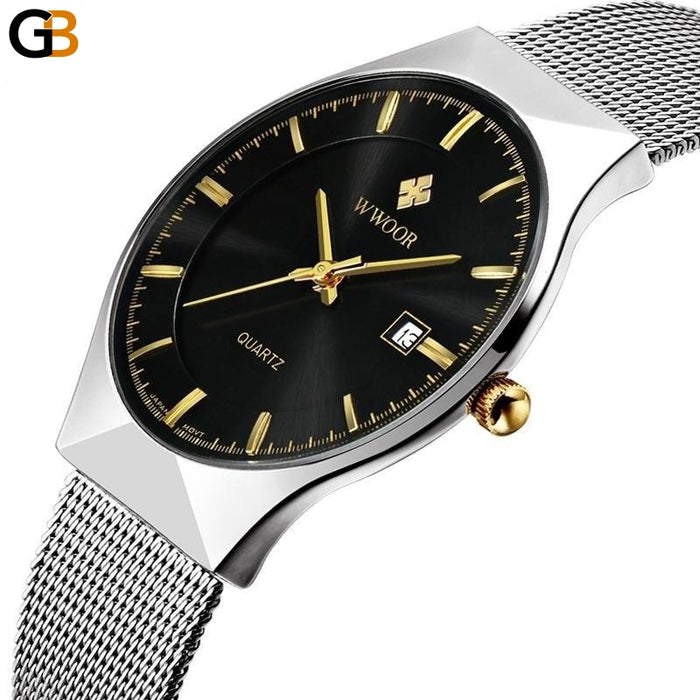 Men's 50m Waterproof Ultra Thin Quartz Watch with Date Clock & Steel Strap - SolaceConnect.com
