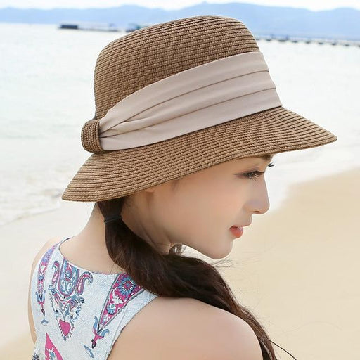 Summer Sun Wide Brim Boater Outside Beach Travel Straw Hats for Women - SolaceConnect.com