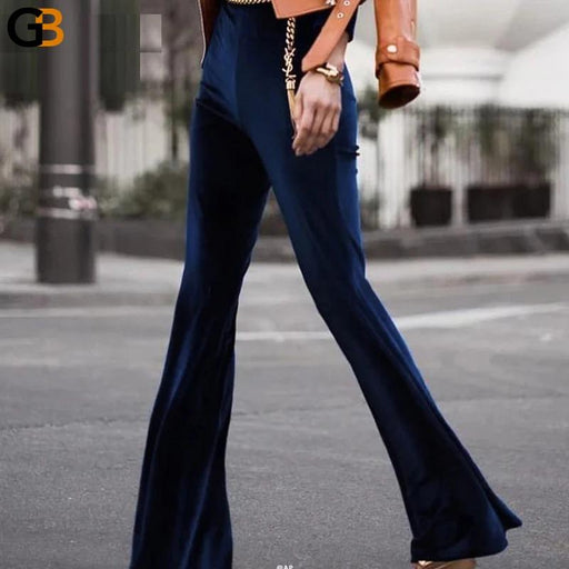 Women's Autumn Winter Trousers High Waist Velvet Slim Pants with Flare - SolaceConnect.com