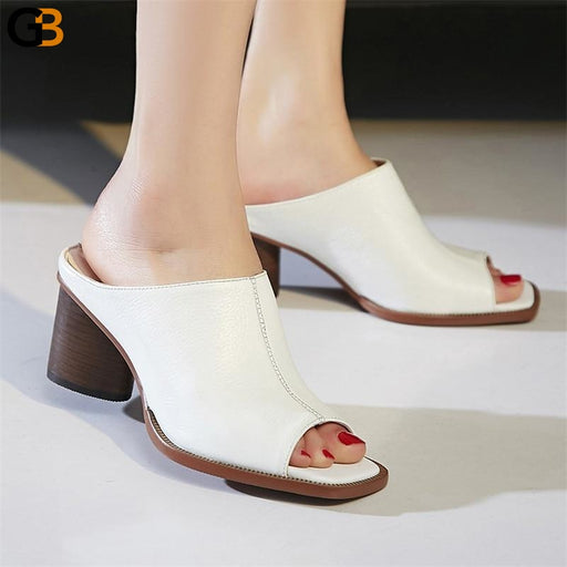 Genuine Leather Breathable Women's Casual Sandals with Round High Heels - SolaceConnect.com