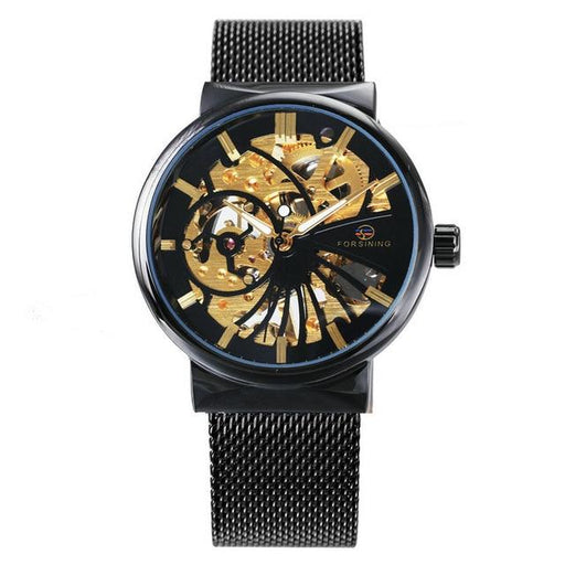 HOT FORSINING Top Brand Luxury Men Mechanical Watch Skeleton Dial Golden Royal Fashion Thin Unisex - SolaceConnect.com