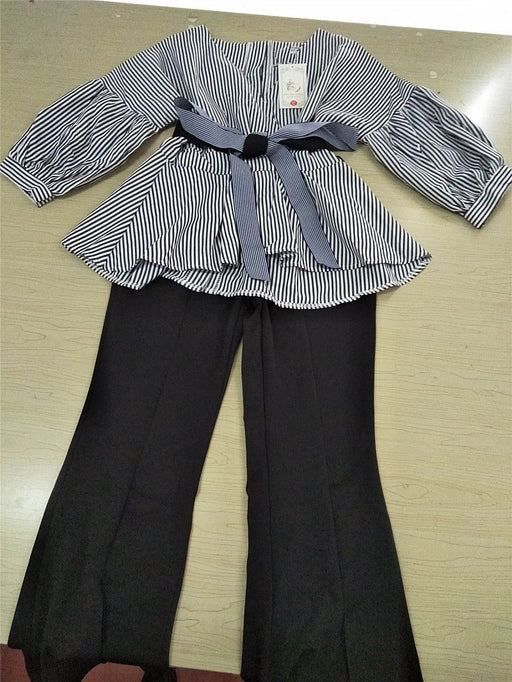 Striped Blouse & Wide Leg Pants Set with Sashes & Fashion Puff Sleeves - SolaceConnect.com
