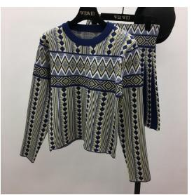 Women's Vintage Knitted Sweater Skirts Clothing Sets with Geometric Print - SolaceConnect.com