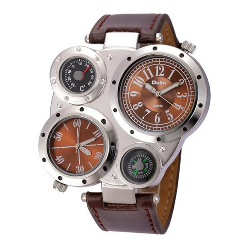 Men's Antique Luxury Sport Multiple Time Zone Casual Leather Quartz Watch - SolaceConnect.com