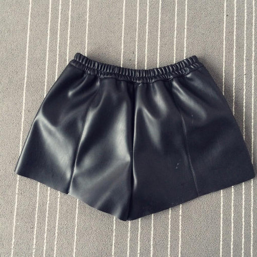 Summer Women Elastic Waist PU leather Black Shorts Female Celebrity same Loose Fashion - SolaceConnect.com