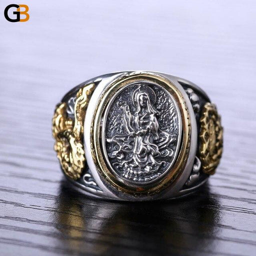 Buddhism Dragon 925 Sterling Silver Ring Gold Retro Vintage Ring for Men - SolaceConnect.com