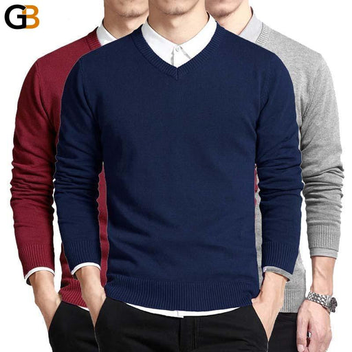 V-Neck Long Sleeve Loose Fit Solid Color Cotton Men's Pullover and Sweater - SolaceConnect.com
