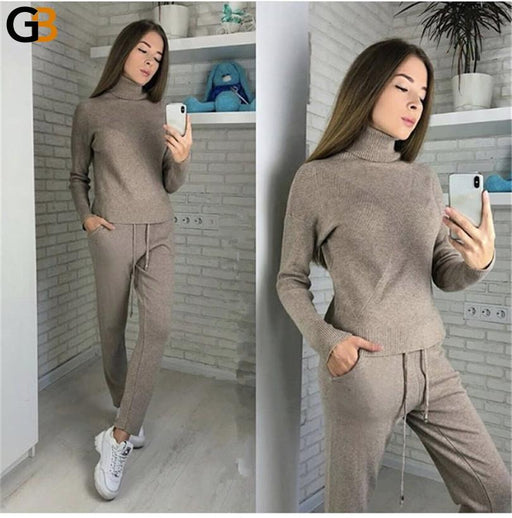 Women's 2 PCS Casual Knitted Sweater Pullover Knitted Trousers Tracksuit - SolaceConnect.com