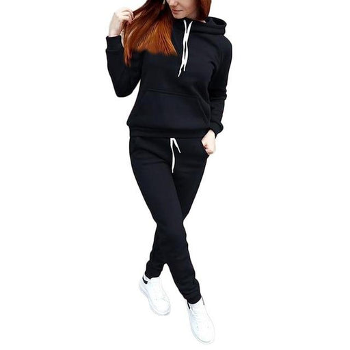 Women's 2 Piece Hooded Pullover Preppy Style Warm Tracksuit Set - SolaceConnect.com