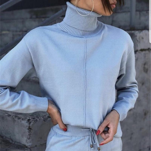 Knitted Winter 2 Piece Tracksuit Clothing Set with Turtleneck Sweatshirts - SolaceConnect.com