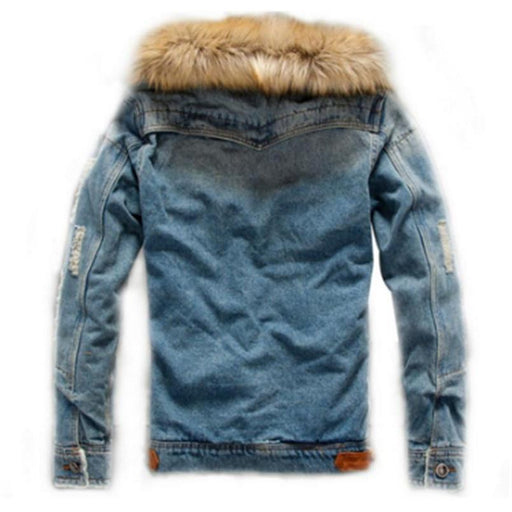 Thick Warm Winter Jacket Denim Outerwear Solid Coat for Men in S-4XL - SolaceConnect.com